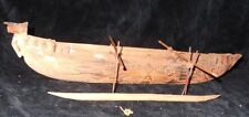Antique Hand Carved Tribal Native Papua Papuan Indonesia Outrigger Canoe Model