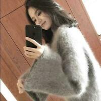 Women Cashmere Fur Loose Sweater Turtleneck Casual Warm Tops Pullover Knitted