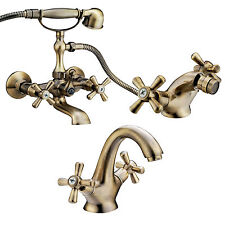 Set completo miscelatori lavabo bidet e vasca ottone bronzato modello vintage