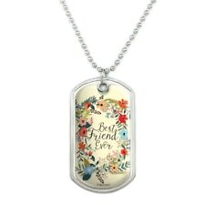 Best Friend Ever Floral Military Dog Tag Pendant Necklace with Chain