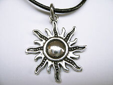 Antique Silver Plated Sun Rays Charm Pendant Black Leather -Ette Necklace