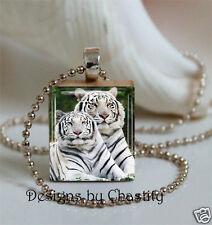 White Bengal Tiger Necklace Scrabble Charm Pendant Art Pendant Big Cat Wild Life