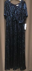 CALVIN KLEIN Women's Navy Blue Maxi Fit + Flare Sequin Party Dress Plus Size 16W