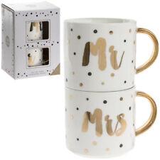 Pair of Stacking Mug Mr and Mrs Wedding Anniversary Gift