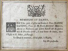 DESSIN XVIII EME 1788 CABINET CURIOSITE AVIS DECES CEREMONIE RELIGIEUSE