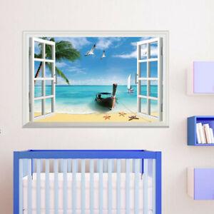3D Window Sailboat Ocean Beach Wall Sticker Wall Decal Bedroom Decor 51*72cm