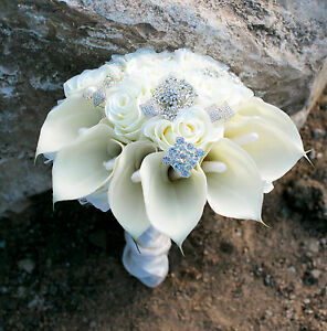 Hand made Amazing Calla Lily Brooch Wedding Bridal Bouquet Latex Ivory realistic