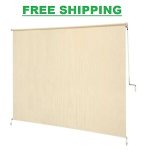 96 x 72 in. Cordless Exterior Roller Shade Blind Porch Patio Privacy Sun Heat