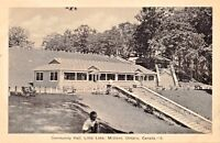 MIDLAND ONTARIO CANADA~LITTLE LAKE~COMMUNITY HALL-BLACK/WHITE PHOTO POSTCARD