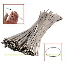 """100PCS 12"""" Stainless Steel Header Exhaust Wrap Locking Cable Zip Ties Straps"""