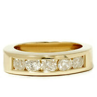 Yellow Gold Mens 1 1/4ct Diamond Wedding Ring Channel Set High Polished Jewelry