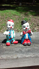 2 Very Cute small Bisque Porcelain Clown Figurines