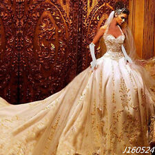 Luxury Mermaid Gold Appliques Embroidery Taffeta Wedding Dresses Bridal Gowns