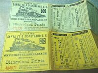 WALT DISNEY'S SANTA FE & DISNEYLAND RAILROAD COMPLETE TICKET TWO RARE 1956 L@@K!