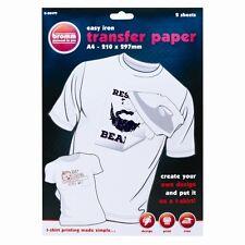 2 PZ Confezione da a4 FERRO su T-Shirt Trasferire Carta per stampa a getto d'inchiostro-Nuovo