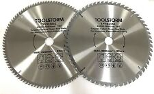 2PC COMPOUND CIRCULAR SAW BLADES 305mm 60T,100T ARBOR 30MM - BUSH 25.4/16/10 TCT