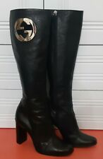 GUCCI Black Leather Heels Long Boots 115139 size 38 US 7,5