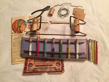 1950'w Walco Indian Bead Loom,Glass Beads,Wood Beads,Pasta Beads,Directions, etc