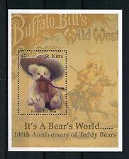 St Kitts 2003 MNH Teddy Bears 100th Anniv Buffalo Bill Bear 1v S/S Stamps