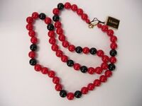 Vintage Estate Monet Lucite Red and Black Necklace with Tags Gold Tone