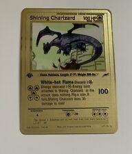 SHINING CHARIZARD 107/105 1st Edition Custom GOLD Metal TEXTURED