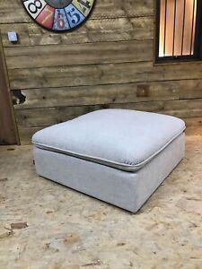 Alexander James Tailor cream linen footstool modern contemporary loose cover