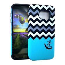 For Samsung Galaxy S7 - HARD & SOFT HYBRID ARMOR CASE COVER BLUE CHEVRON ANCHOR