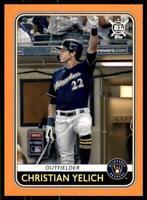 2020 Big League Base Orange #57 Christian Yelich - Milwaukee Brewers