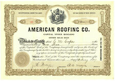 American Roofing Company. Stock Certificate. New Jersey. 1907