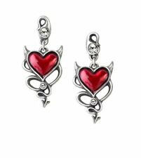 Devil Heart Stud Earrings - Alchemy Gothic Ul17 Jewellery ULFE22