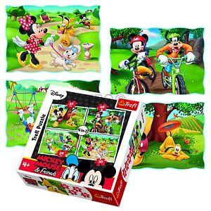 Trefl 4 In 1 35 + 48 + 54 + 70 Piece Girls Kid Mickey Minnie Mouse Jigsaw Puzzle