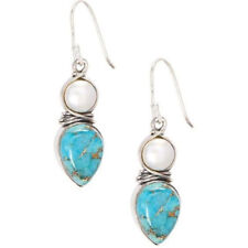 Women Vintage Silver Natural Turquoise Pearl Gems Wedding Drop Dangle Earrings