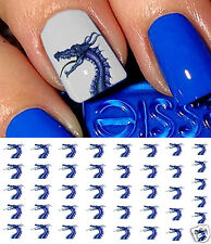Blue Dragon Nail Art Waterslide Decals - Salon Quality!