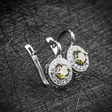 Silver Peridot Green Crystal Stud Ear Cuff Clip Earrings