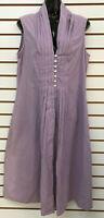 April Cornell Sleeveless Cotton & Linen Dress Lilac Purple Medium Pleated Button