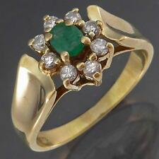 Small Cluster Solid 9k Yellow GOLD NATURAL GREEN EMERALD & 8 DIAMOND RING Sz L