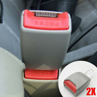 2X Car Auto SUV Safety Seat Belt Buckle Extension Alarm Extender Gray Universal