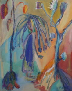 1998 Expressionist pastel drawing still life signed