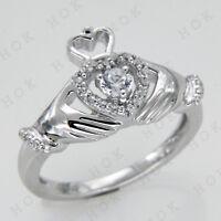 0.58 Ct Round Cut Diamond VVS1//D Claddagh Ring 14K White Gold Over Men/'s