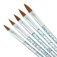 5X Sable Kolinsky Acrylic Nail Art UV Gel Carving Brush Too A9I4 Set M4A7