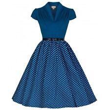 Lindy Bop Megan Blue Polka Retro Vintage Pin-Up 50s Rockabilly Swing Dress Plus