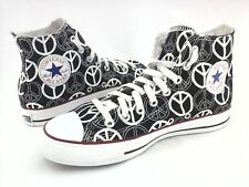 CONVERSE High Top Shoes Peace Sign Black/White Sneakers Men's 7 Women's 9 RARE