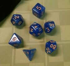 7-Die Dice Set For Dungeons And Dragons With Black Pouch (Blue Pearl w/gold #)