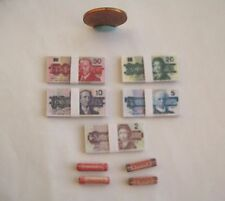 DOLLHOUSE BARBIE MINIATURE STACKS OF MONEY BILLS & COIN ROLLS OLD CANADIAN 1:6