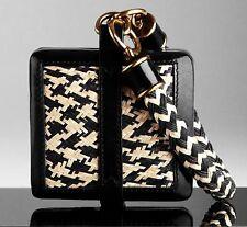 $1,195 Burberry Prorsum Women Straw Wristlet Clutch Purse Hand Bag Leather Lady