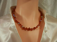Super Pretty Vintage 1950's Fancy Clasp Amber Aurora Rhinestone Necklace  2001o