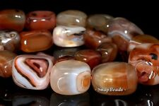 GRADATED BANDED AGATE GEMSTONE BROWN NUGGET CUBE 22X15MM-9X7MM LOOSE BEADS 16""