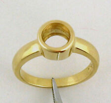 1.25Ct Full Bezel Solitaire Ring Mounting 14K Yellow Gold For 7mm Round Stone