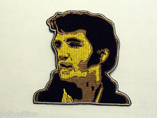 ROCK PUNK METAL MUSIC SEW/IRON ON PATCH:- ELVIS HEAD & SHOULDERS (b) CUTOUT