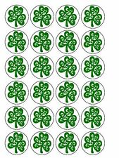 """30 x St Patrick's Day Irish Shamrock 1.5"""" PRE-CUT ICING Cake Toppers Decorations"""